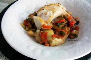 Saladmaster Recipe Pan Roasted Sablefish with Mediterranean Artichoke Stew by Cathy Vogt