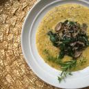polenta recipe, simple polenta, mushrooms, spinach