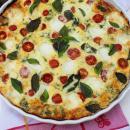 breakfast, caprese, quiche, omlette, vegetarian, feta, tomatoes, basil, eggs