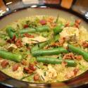 quinoa, chicken, green beans, bacon,
