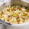 Polish Sausage Casserole, potatoes, Cabbage,
